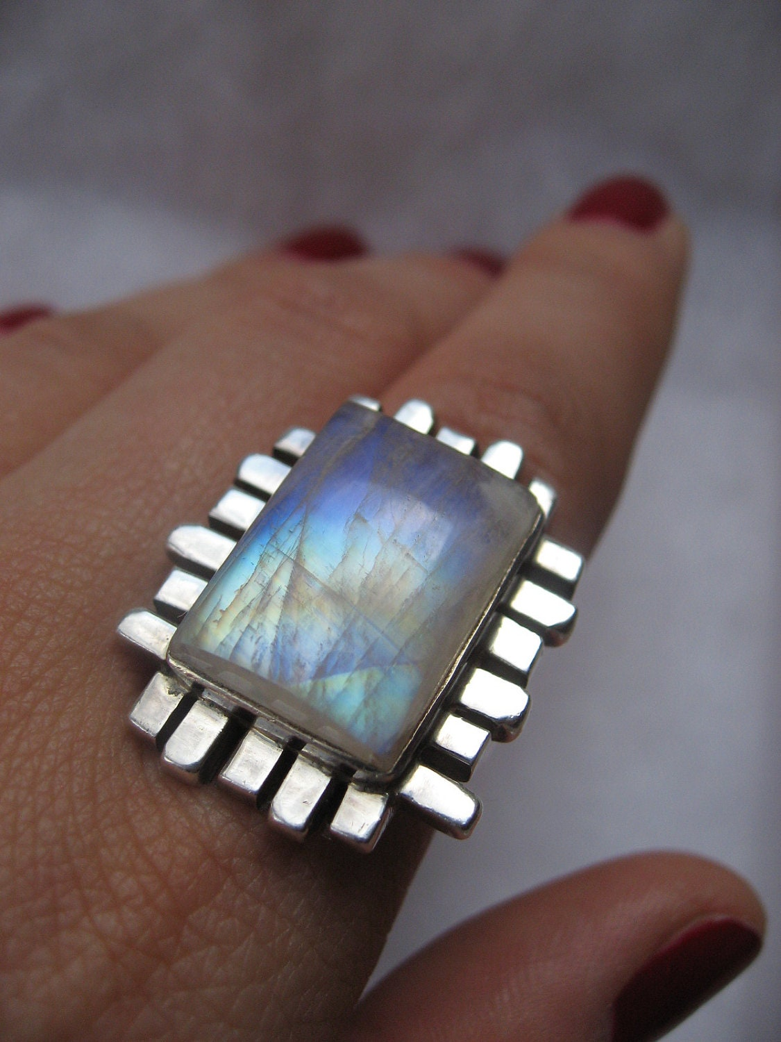 emerald cut sterling silver rainbow moonstone ring size 7