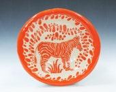 In STOCK - Bright ORANGE ZEBRA Bowl Sgraffito  - Folk Art Inspired - Artist Designed Whimsical Bowl - Functional Ceramic Art