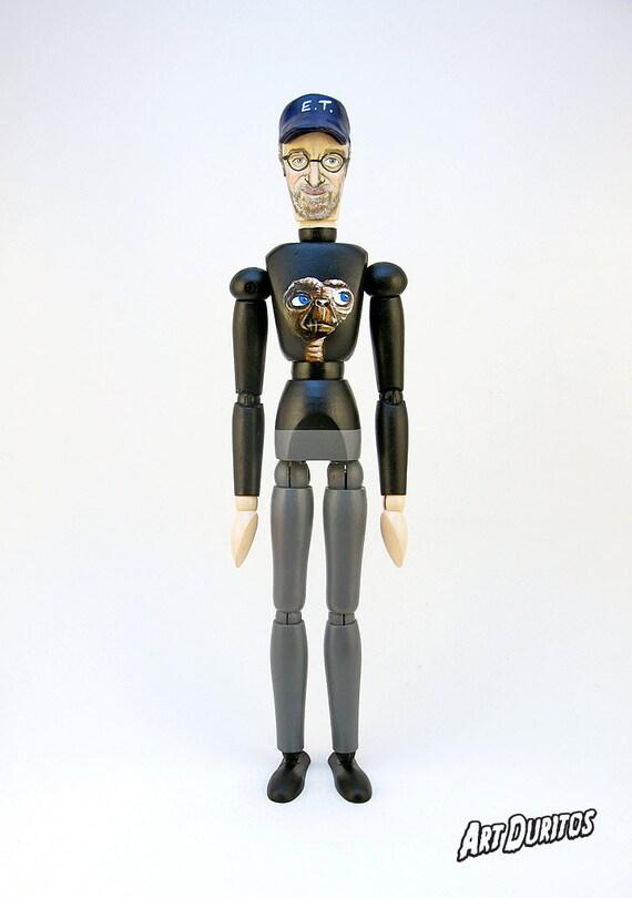 Steven Spielberg Art Doll - Sculpture - Articulated Wooden Figure - Unusual Art - Original Pop Art - Hand painted