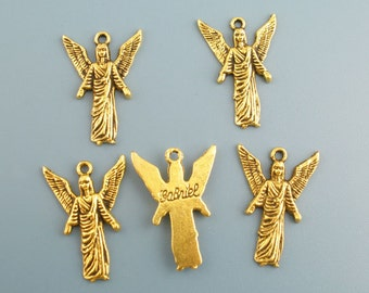 SALE 8 Gold Angel Charms - 25x17mm - Ships IMMEDIATELY  from California - GC27