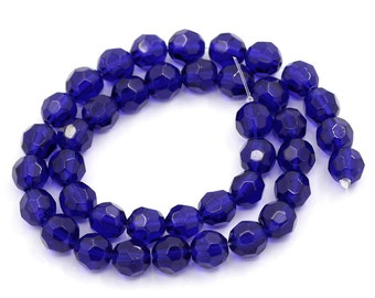 40 Blue Faceted Beads - 8mm - 1 Strand - Ships IMMEDIATELY from California - B746