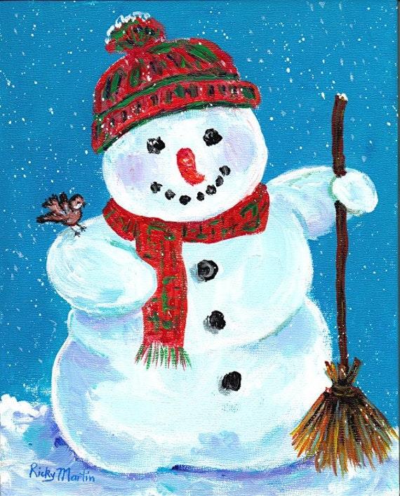 Snowman winter season bird christmas present ready to for How to paint snowmen