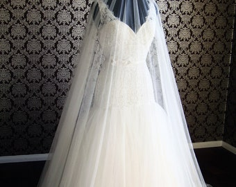 """Softest Pure Silk Tulle Cathedral Drop Veil 145"""" Wide Silk Tulle Veil with Long Blusher by IHeartBride Silk Tulle Collection V-AS145 Widest"""