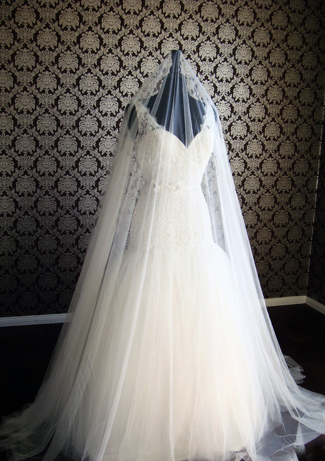 Softest Pure Silk Tulle Cathedral Drop Veil 145 Wide