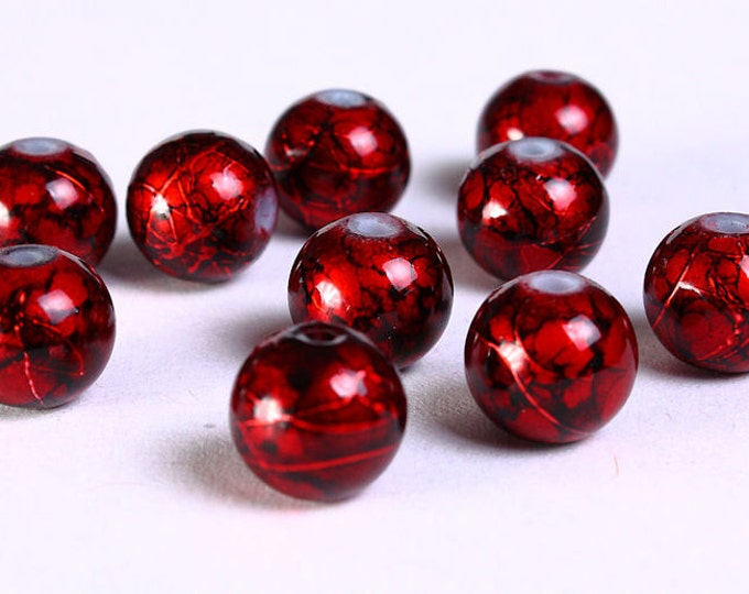 8mm Drawbench red black beads - 8mm round glass bead - 8mm spray painted beads (831) - Flat rate shipping