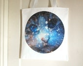 Cat Space Galaxy Nebula Print White Tote Bag Canvas Shopper