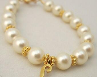 Personalized baby girl bracelet infant bracelet, Gold/Vermeil initial charm toddler child BPSIG