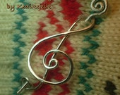 BIG TREBLE CLEF Brooch, Hair Pin or Shawl Pin For Scarf made with Aluminum Wire - For Musicians and Music Lovers