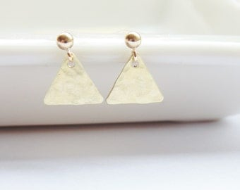 Brass gold hammered textured triangle geometric stud dangle drop gold filled earrings