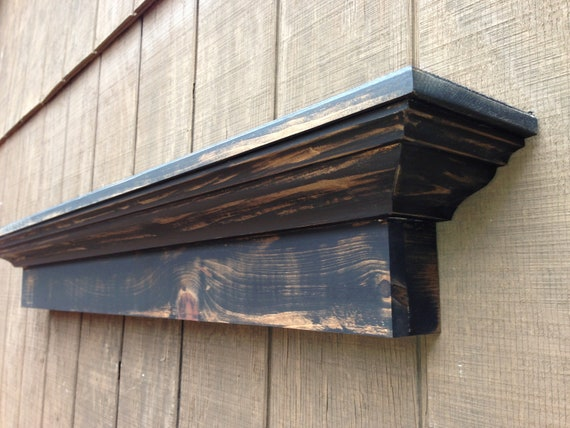 Rustic wall shelf Black distressed mantel shelf - The Mistletoe Shelf