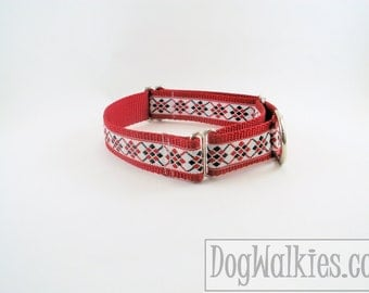 "Red and White Argyle Christmas Dog Collar - 1"" (25mm)Wide - Choice of collar style and size - Martingale Dog Collars or Quick Release Buckle"