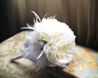 Petite Silk Wedding Bouquet with White Roses & Feathers, Choice of Black or White Ribbon