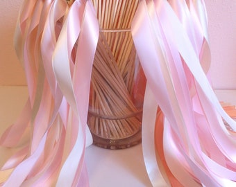 Wedding ribbon wands- set of 75 double ribbon wands with bells