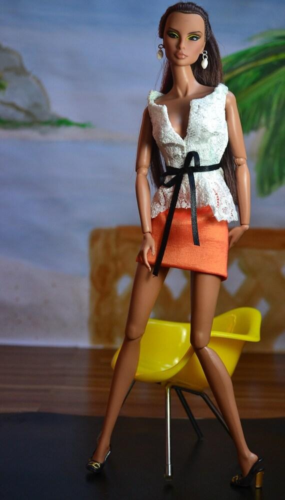 White Peplum Lace Top, Orange Skirt and White Earrings - Doll Fashions by AtelierniSHASHA