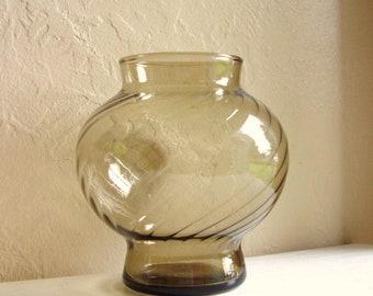 Smoke Glass Vase Clear Black Round Spiral Design - Excellent Condition