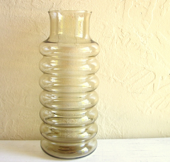 SALE - Smoke Glass Vase Clear Black Curvy  Excellent Condition