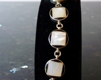 SALE Vintage Silver Mother of Pearl Square in an Onyx Circle Bracelet