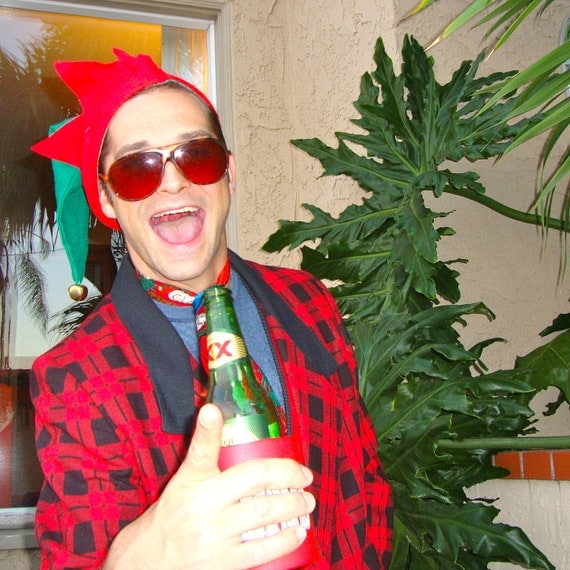 Party Plaid Vintage Ugly Christmas 80s Black And Red by ...
