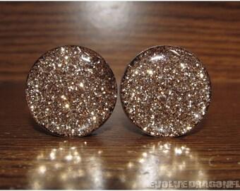 Gold Glitter Plugs - 2g, 0g, 00g, 7/16, 1/2, 9/16, 5/8, 3/4, 7/8, 1 Inch - 2 Styles!