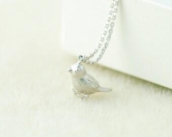 Little Sparrow Necklace in Silver. Silver Bird Necklace. Silver Sparrow Necklace.