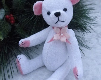 Candy - miniature white soft sculpture bear, miniature artist bear