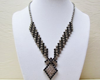 Vintage black and clear rhinestone necklace, evening wear jewelry