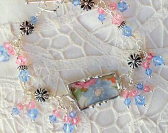 Bracelet, Broken China Jewelry, Broken China Bracelet, Pink and Blue Floral China