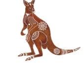 Red-Brown Kangaroo Archival Art Print