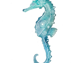 Turquoise Seahorse Archival Art Print