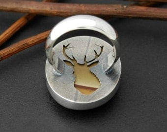 Deer ring stag ring sterling silver with bezel set jasper cabochon size 7.5