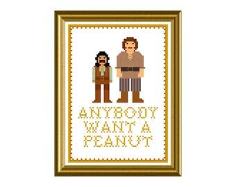 PDF PATTERN ONLY Princess Bride anybody want a peanut - counted cross stitch pattern  5x7