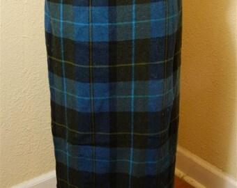 Plaid Midi Skirt / Vintage Blue Skirt / Worthington Petite Size 4 Blue Plaid Wool Skirt