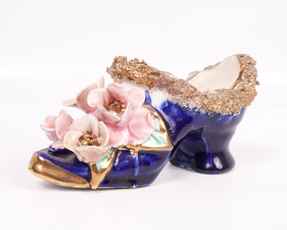 RESERVED For Dorothy Vintage Porcelain Shoe Spaghetti Lace Cobalt Blue Applied Pink Roses Gold Trim High Heel Hand Painted