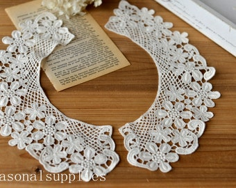 Beige Collar Lace,Embroidery, Appliques,Fabric,Diy,Sewing 1 Piece (CA14-D048)