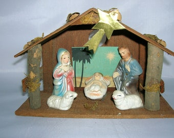 Nativity Set Wood with Composition Figures Manger Set Made in Japan with Original Box