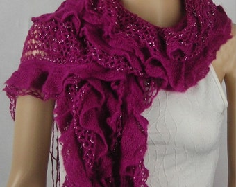 Long Chunky Knit Scarf - Knitted With Fringe scarf - Shawl Scarf Cowl Scarf - silver metalic thread - fuchsia scarf