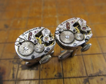 Hamilton 757 Watch Movement Cufflinks. Great for Fathers Day, Anniversary, Wedding or Just Because.  #729
