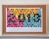 "SALE // CMYK Series: 2013 Screen/Print Calendar (18"" x 12"" Horizontal Print, 16-Month Wall Calendar)"