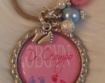OBGYN keychain, doctor keychain, OBGYN gift, doctor gift, NICU nurse, midwife, doula, Midwife keychain, Midwife gift