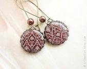 SALE - Brown Victorian style earrings