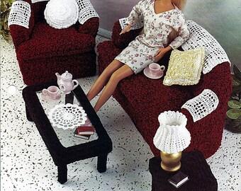 Contemporary Living Room Crochet Barbie Furniture Pattern  Annies Fashion Doll Crochet Club FC31-01