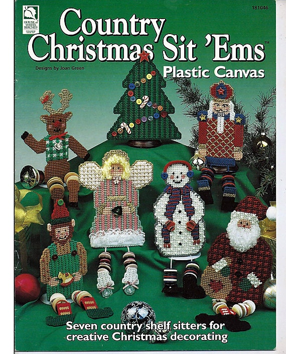 Country Christmas Sit'Ems Plastic Canvas Pattern Book  house of White Birches 181046