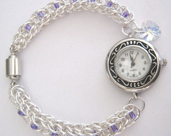 Vespers Chainmaille and Czech Glass Bead WristWatch