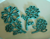 Vintage Aqua Blue Painted Homco Flowers - Set of 3