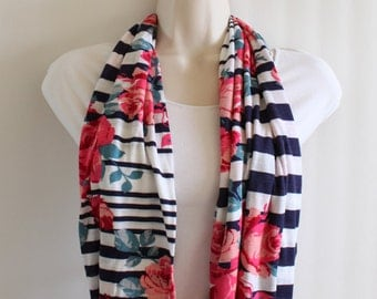 Navy Blue Stripe with Roses Skinny Infinity Scarf, Loop Scarf, Circle Scarf, Tube Scarf, Jersey Knit Scarf