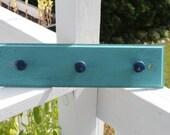 3 Knob Bright Blue Coat Rack