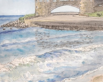 Fine art giclee print landscape of Narragansett Towers and Waves, signed by artist 8.5x11 New England Art Seascape by the ocean, watercolor