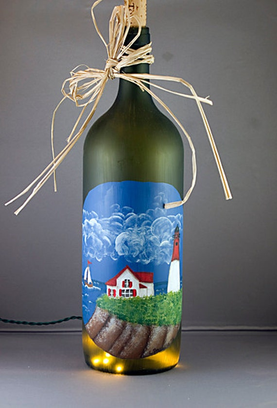 Lighted Wine Bottle Night Light Hand Painted Lighthouse Sail boat Ocean Beach Recycled Glass Accent Lamp