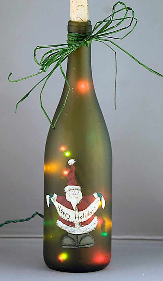 Christmas Lights In Wine Bottle