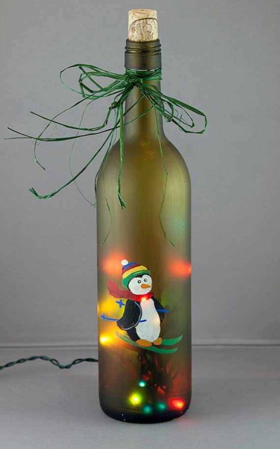 penguin skiing lighted wine bottle hand painted seasonal